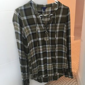 Lace up Plaid Top